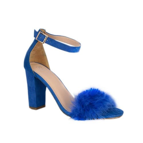 0247799baf NY & Co Ladies Ankle Strap Heel Faux Fur Stylish Sandal- Blue ...