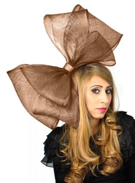 Ladies Big Bow Fascinator - Brown  2b3bde80bca