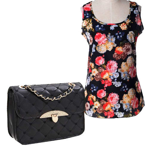 /L/a/Ladies-Floral-Chiffon-Top---Black-Quilted-Handbag---Black-6391636_4.jpg