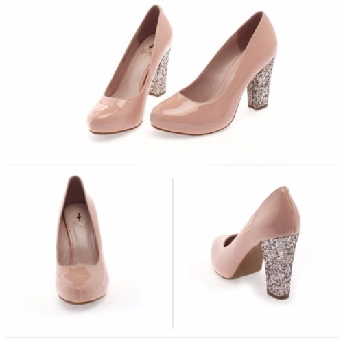 7ecfe4673787 Ladies Glitter Heels Court Shoe - Beige