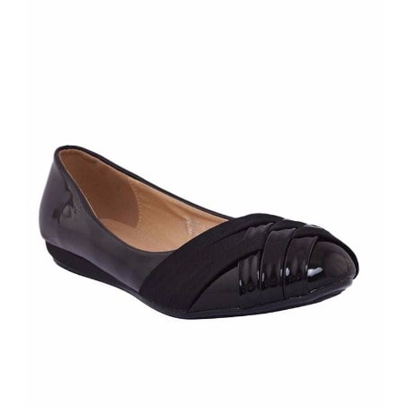 Ladies Leather Ballet Flat Shoes - Black