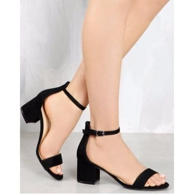 c66e96a6d60 Ladies  Low Block Heel Sandals - Black