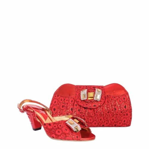 5bb68621601 Ladies Low Heel Shoes And Bag Set With Bow Detail - Red