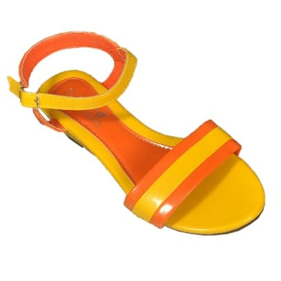 65e2f4645e76 Ladies Low Wedge Sandal - Orange   Yellow