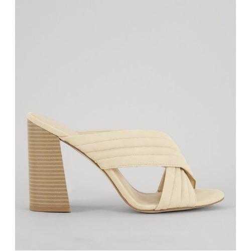 d8d5e30ad6b New Look Ladies Mink Cross Strap Block Heeled Mules - Beige