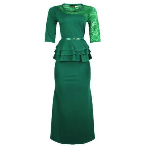 c60fb5c7db Barbara Ladies Peplum Maxi Dress with Belt - Green | Konga Online ...