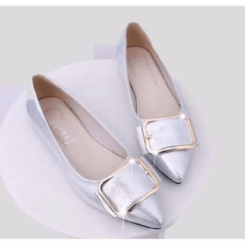 80ca5783903  L a Ladies-Pointed-Flat-Shoes---Silver
