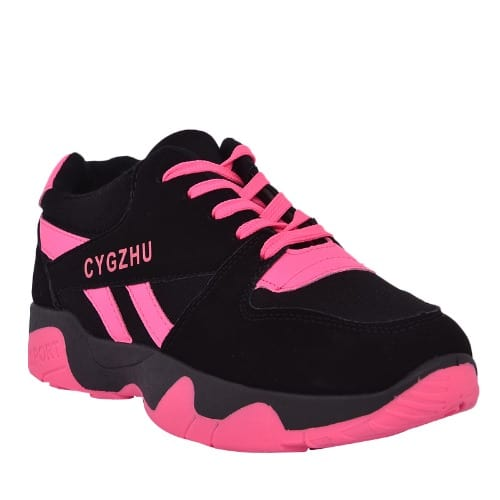 pink and black sneakers