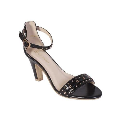 6d49402d8f Ladies Studded Heeled Sandals - Black