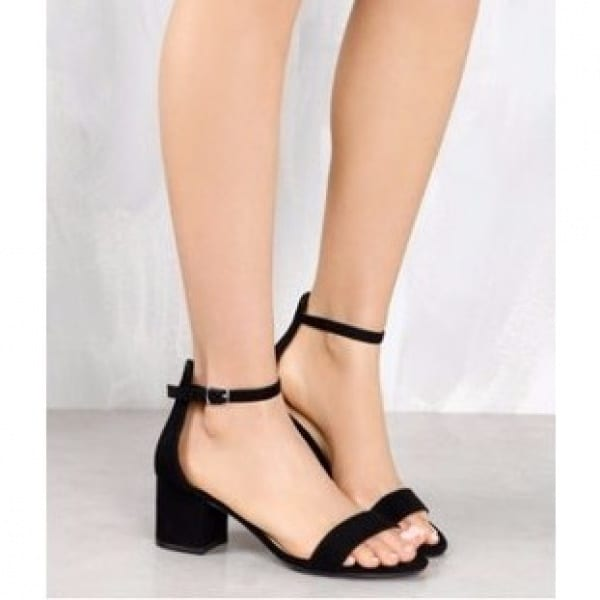 70ce6283d72 Shoe Republic Ladies Suede Low Block Heel Sandal - Black
