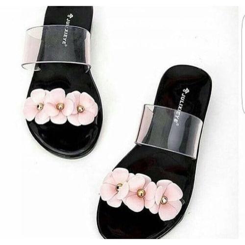 6af945abd0228 Ladies Tri-Petal Rose Jelly Slippers - Black