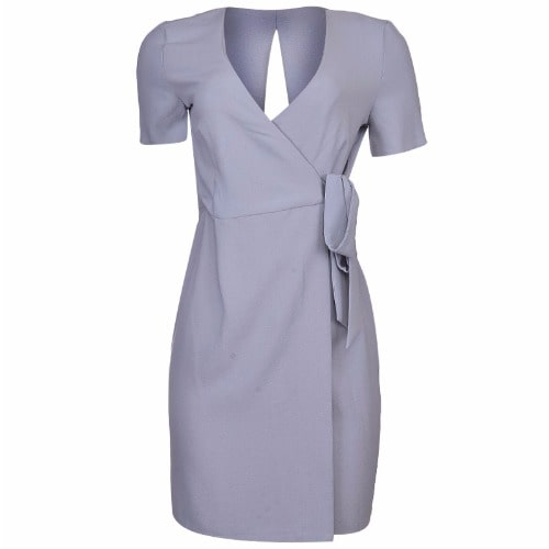 79671413899 Ladies Wrap Dress - Grey