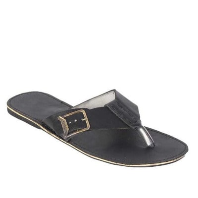 Leather Buckle Slippers - Black