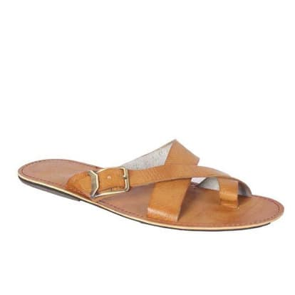 Leather Buckle Slippers - Brown