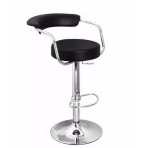 Superb Leather Chrome Bar Stool Black Gmtry Best Dining Table And Chair Ideas Images Gmtryco
