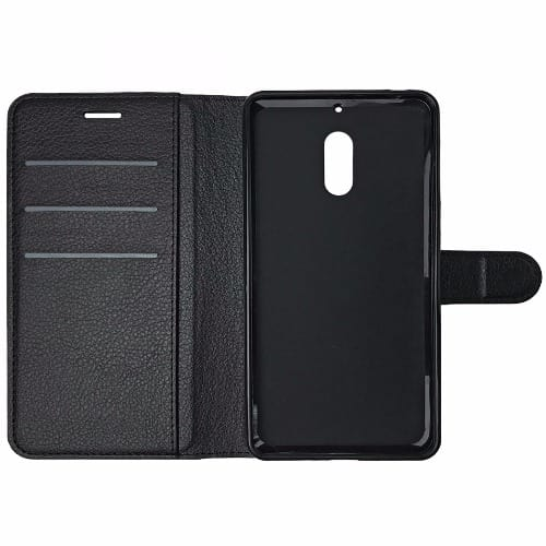 best sneakers d99f3 798f8 Leather Flip Case for Nokia 6 - Black