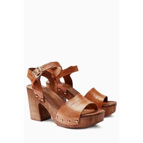 972f2de47 Next Leather Wood Look Sandals - Tan