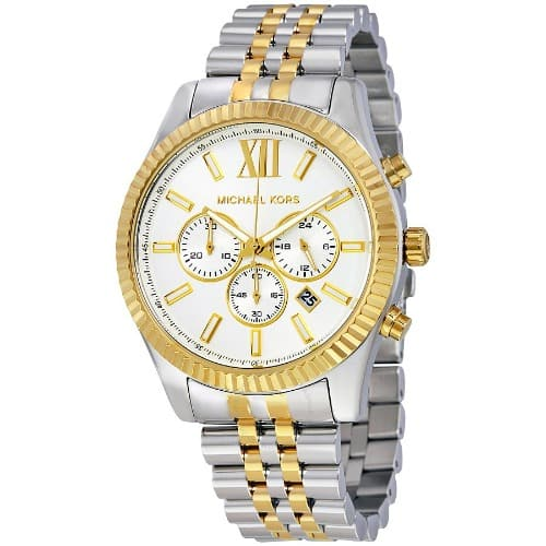 5af64848300a Michael Kors Lexington Chronograph White Dial Two-tone Men s Watch ...