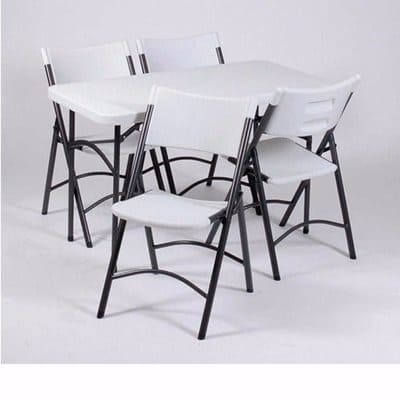 bbedcfd611730 Lifetime 4ft Commercial Folding Table   Four Folding Chairs