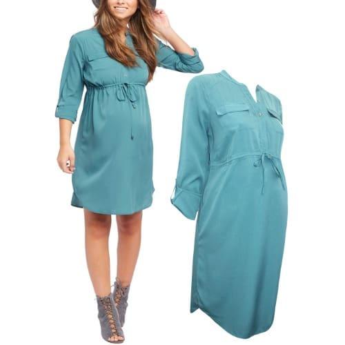 da2703ff7e6 Motherhood Maternity Green Roll Sleeve Maternity Shirt Dress