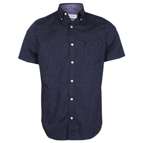 5bef3006ee1b82 Nautica Men s Polka-dot Shirt - Navy