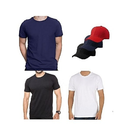 3 Polo Round Neck T Shirt And 3 Caps For Men And Women
