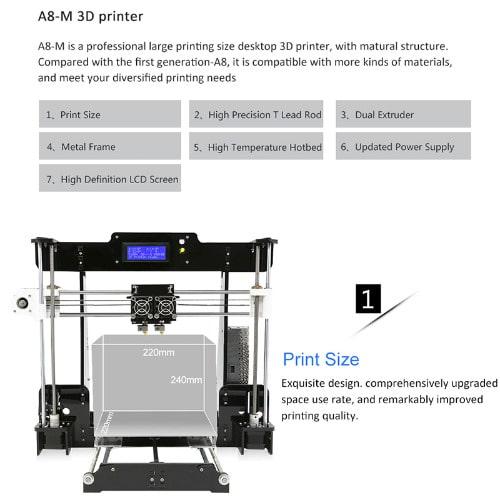 Anet A8 M Diy 3d Printer - Dual Nozzles + Online & Offline Printing,  40-120mm/s
