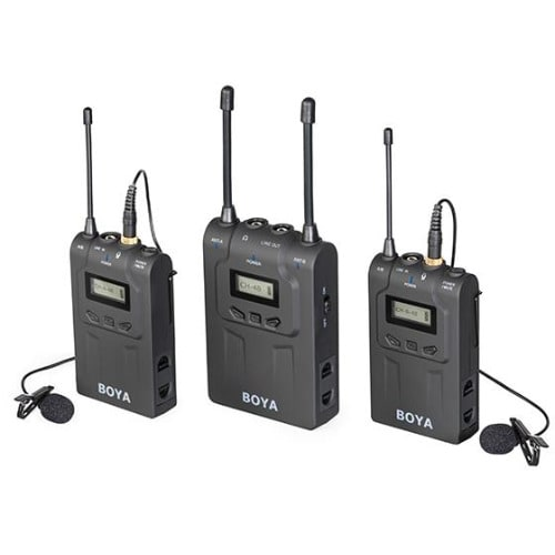 By-wm8 Uhf Dual-channel Wireless Microphone System For Interviews Black