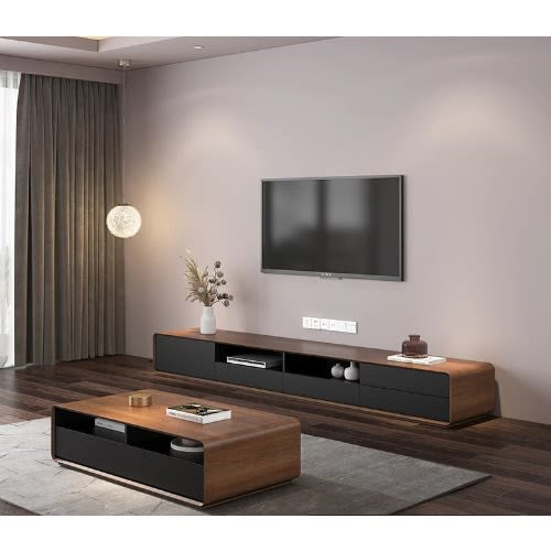 Glossy Dexter Tv Stand With Center Table - Brown.