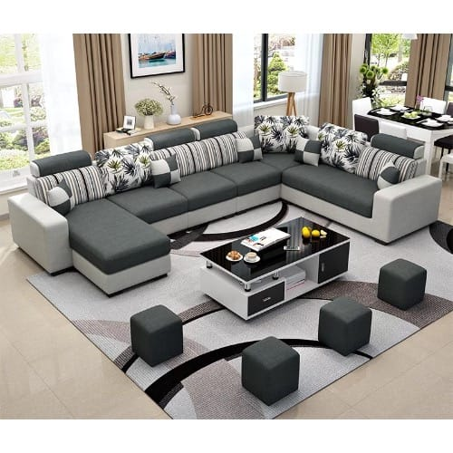 Living Room Furniture Alva Sectional Sofa + Centre Table Set