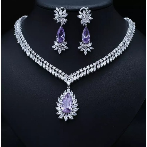 5cf468ee95e Bridal Vintage Purple Cubic Zirconia Jewellery Set