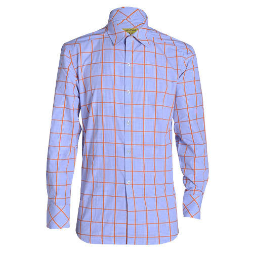 MSHT-508 Long Sleeved Check Shirt - Blue & Orange