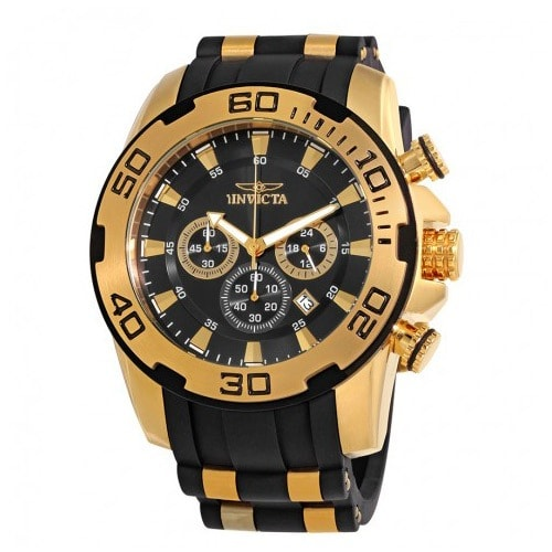 22312 Men's Pro Diver Quartz Chronograph Black Dial Large Watch