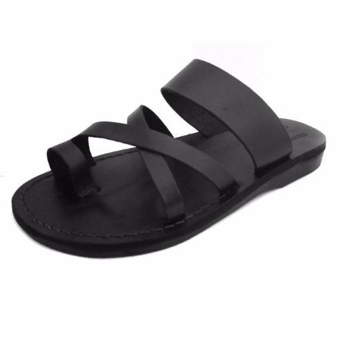 cb16d9d92da Men Cross Design Leather Slippers - Black