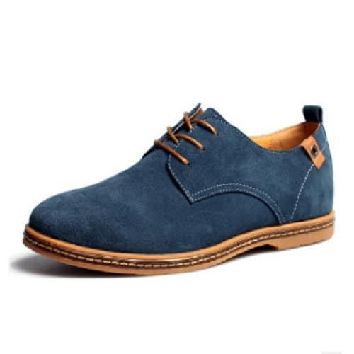 Men's Casual Suede Lace-Up Shoe - Blue