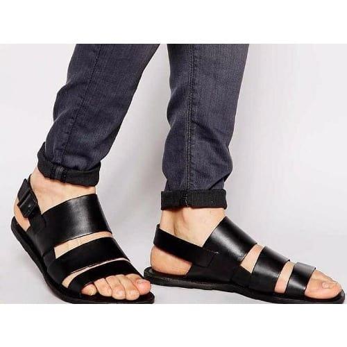 9ab38170a255 A S Men s Classic Triple Strap Italian Leather Sandal - Black ...