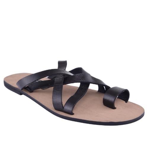2d98b6b2a8b Men's Cross Pattern Leather Slippers