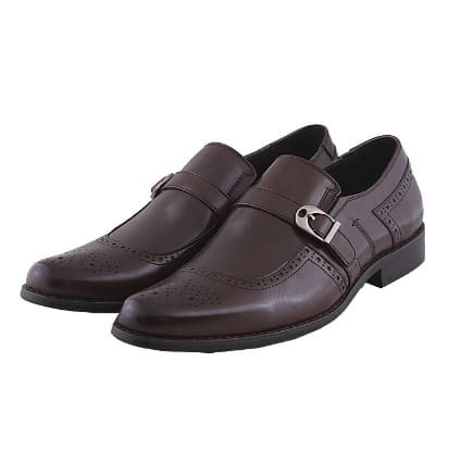 Men's Leather Slip On Shoe With Buckle - Brown - MSH-4364