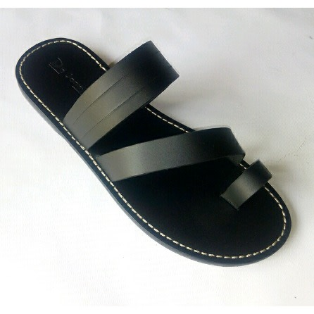 mens black leather slippers