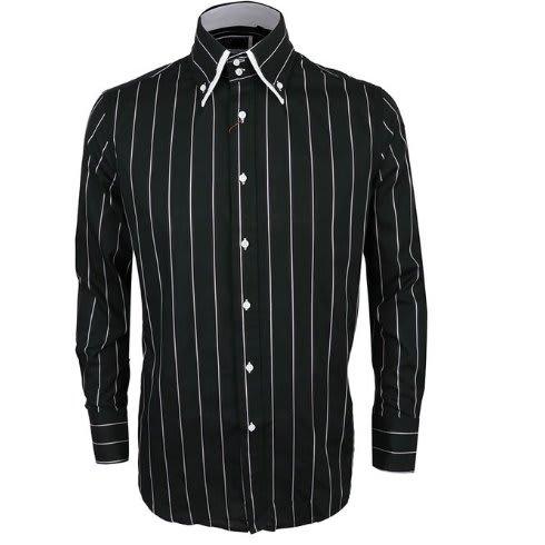2b724a10852 Men's Long Sleeve Striped Shirt - Black & White
