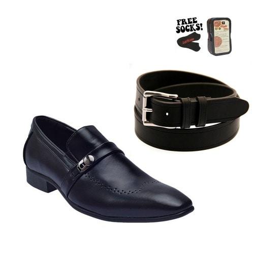 43b707964b2 Men s Perforated Formal Leather Shoe - Black + Leather Belt Black ...