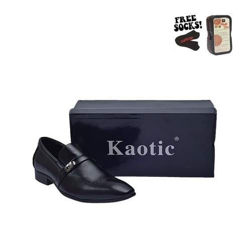 eaf6e241252 Leather Knitted Opening Formal Shoe - Black