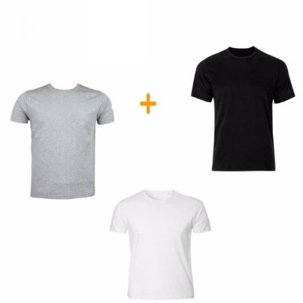 84a572707f5e Men's Plain Round Neck T-Shirt - Set Of 3 - White, Black & Grey ...