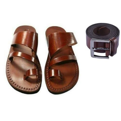 b2af0aa54ba3 Men s Pure Italian Leather Slippers - Brown +Men s Leather Belt ...