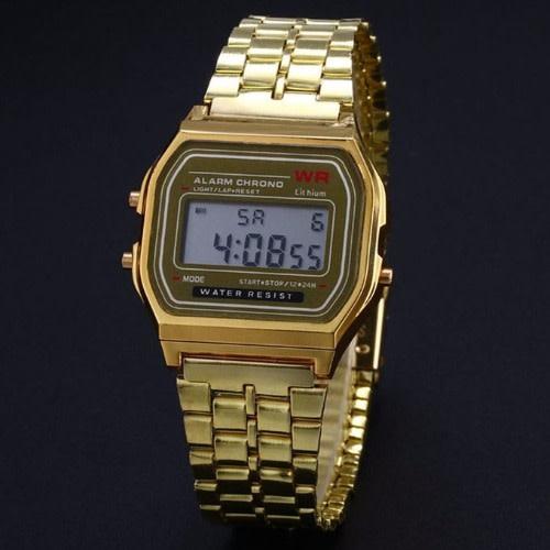 ea1386df401c Men s Vintage Chronograph Alarm LCD Digital Watch - Full Gold ...