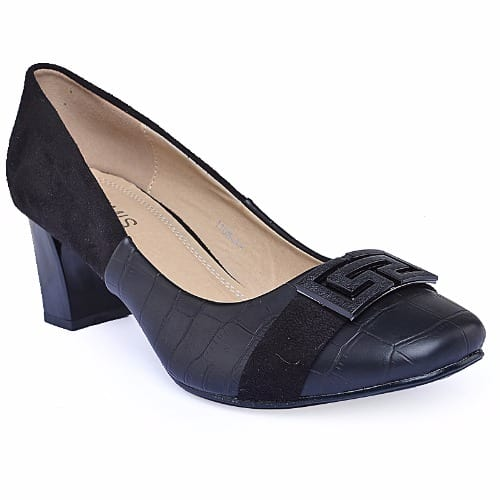 Mid Heel Court Shoes - Black