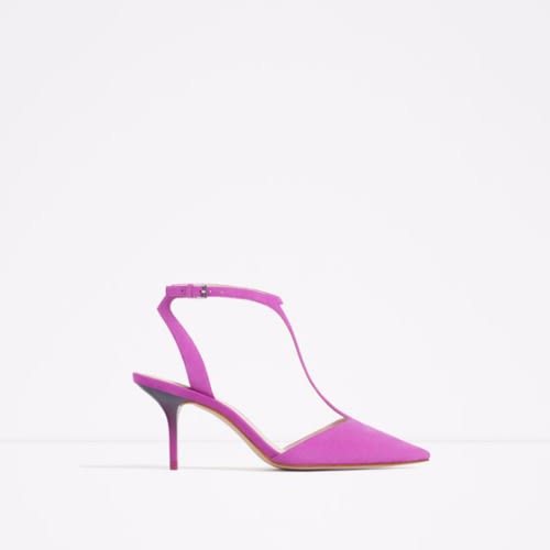7fdf2ba28af Zara Mid Heel Leather Shoes With Ankle Strap - Purple