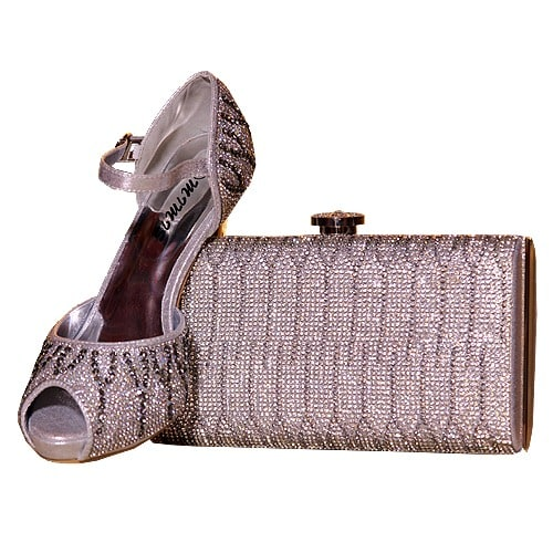 aab01d6040cf0 Mimis Ladies Glittering Shoe & Bag - Silver | Konga Online Shopping