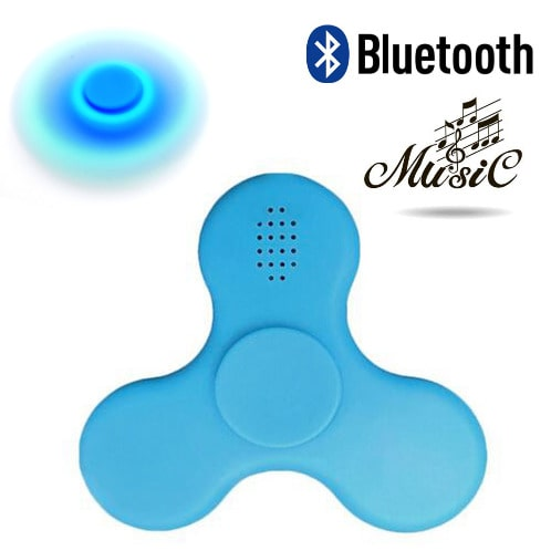 c17874ecd80d0 Mini Bluetooth Hand Fidget Spinner with LED Light Music Speaker Finger Toy  - Blue