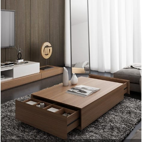 Side Table With Storage.Modern Coffee Table With Storage Brown